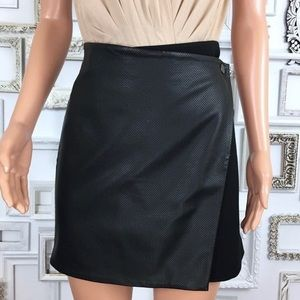 Club Monaco faux leather wrap skirt